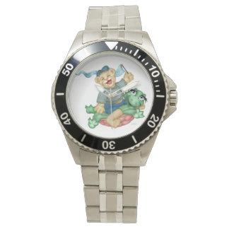 De SCHILDPAD DRAAGT CARTOON toont voor Roestvrije Horloge