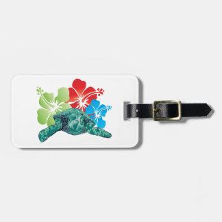 De Schildpad van de Hibiscus van Hawaï Kofferlabels