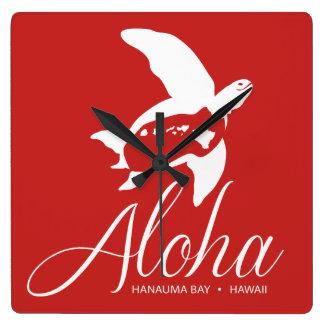 De Schildpad van Hawaï van de Baai van Hanauma Vierkante Klok