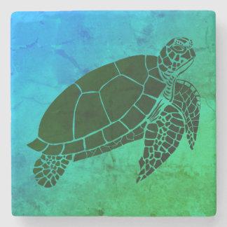 De Schildpad van het zee op Blauwe en Groene Stenen Onderzetter