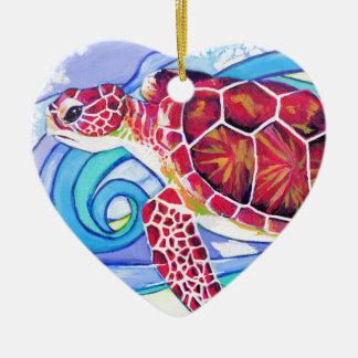 De Schildpad van Surfin Keramisch Hart Ornament