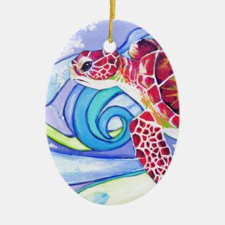 De Schildpad van Surfin Keramisch Ovaal Ornament