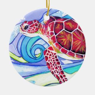 De Schildpad van Surfin Rond Keramisch Ornament