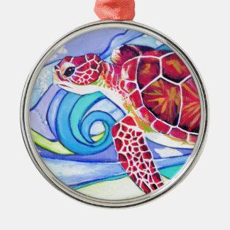 De Schildpad van Surfin Zilverkleurig Rond Ornament