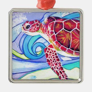 De Schildpad van Surfin Zilverkleurig Vierkant Ornament