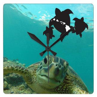De Schildpadden van de Eilanden van Hawaï Vierkante Klok