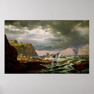 De Schipbreuk van Johan Christian Dahl op Kust Poster