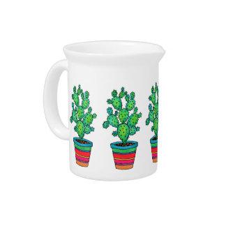 De schitterende Cactus van de Waterverf in Mooie Bier Pitcher