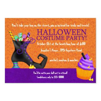 De Schoen van heksen en de Partij van het Kostuum 12,7x17,8 Uitnodiging Kaart