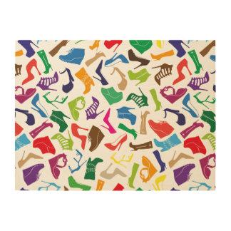 De schoenen van de kleurrijke Vrouwen van het Houten Canvas