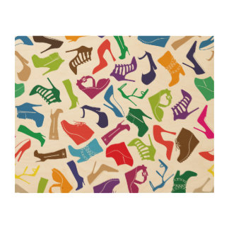 De schoenen van de kleurrijke Vrouwen van het Houten Canvas Print