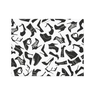 De schoenen van de zwarten van het patroon canvas afdruk
