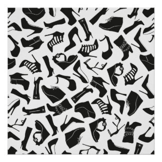 De schoenen van de zwarten van het patroon poster