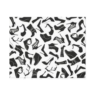 De schoenen van de zwarten van het patroon stretched canvas afdrukken
