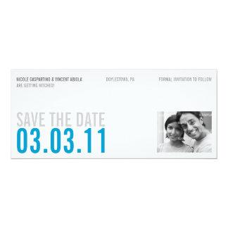 De schone Blauwe Foto bewaart de Datum 10,2x23,5 Uitnodiging Kaart
