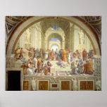 De school van de Fresko van Athene door Raffaello  Plaat