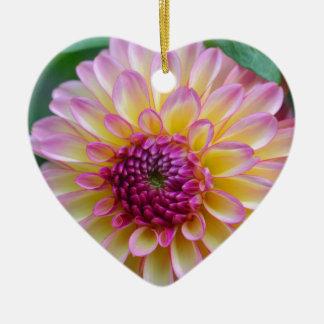 De Schoonheid van de dahlia Keramisch Hart Ornament