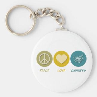 De Schoorstenen van de Liefde van de vrede Basic Ronde Button Sleutelhanger