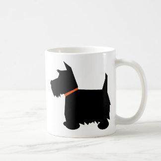 De Schotse mok van het de hond zwarte silhouet van