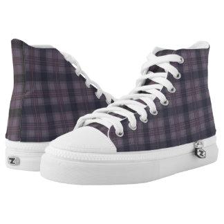 De Schotse paarse plaiden van het Geruite Schotse High Top Schoenen