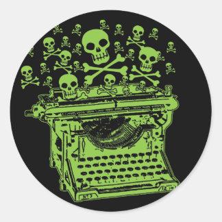 De Schrijfmachine van het vergift Ronde Stickers