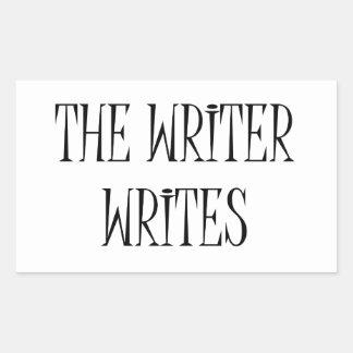 De schrijver schrijft rechthoekige sticker