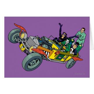 De Schurken van Batman in Jokermobile Wenskaart