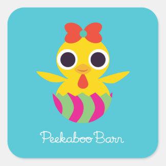 De Schuur Pasen van Peekaboo | Bayla het Kuiken Vierkante Sticker