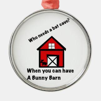 De schuur van het konijntje zilverkleurig rond ornament