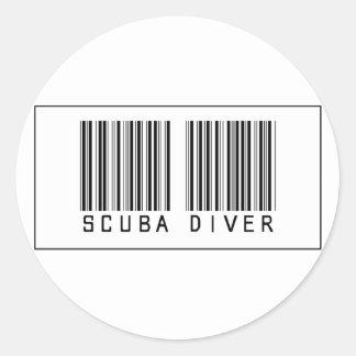 De Scuba-duiker van de streepjescode Ronde Sticker