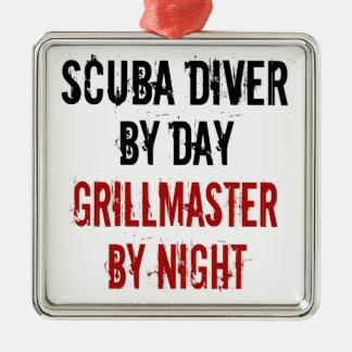 De Scuba-duiker van Grillmaster Zilverkleurig Vierkant Ornament