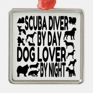 De Scuba-duiker van het hondenliefhebber Zilverkleurig Vierkant Ornament