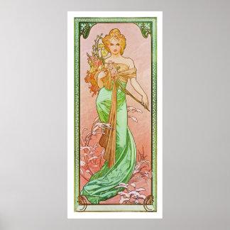 De seizoenen: De lente Printemps, 1900 Alphonse Mu Poster
