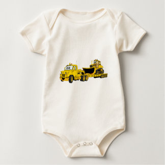 De semi Gele Cartoon van de Bulldozer Baby Shirt