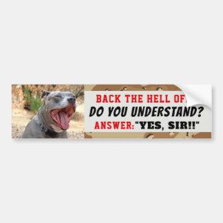 De Sergeant Pitbull ja de Heer Bumper Sticker van