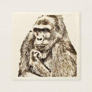 De Servetten van de gorilla Papieren Servet