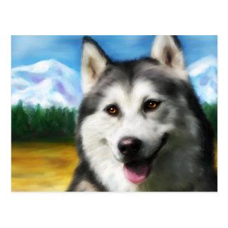De Siberische Schor Kunst van de Hond - Zonne Wens Kaart