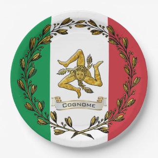 De Siciliaanse Vlag van de Kroon van de Olijf Papieren Bordje