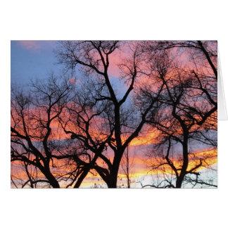 De Silhouetten van de boom bij Schemer Notitiekaart
