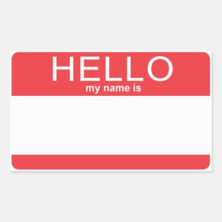 De Sjabloon Hello van de douane Mijn Naam is Rechthoekige Sticker
