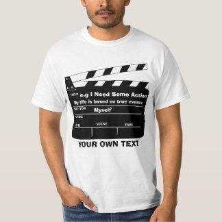 De sjabloon van de douane clapperboard t shirt