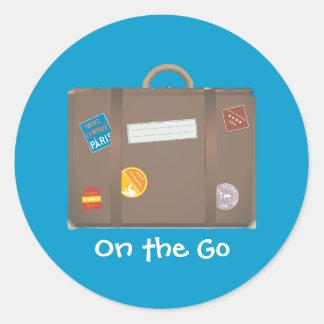 De sjabloon van de koffer ronde sticker