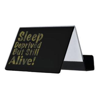 De slaap beroofde maar nog Levend in Geel Bureau Visitekaartjeshouders