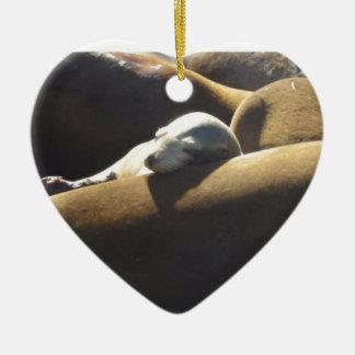 De Slaap van de Zeeleeuw van het baby Keramisch Hart Ornament