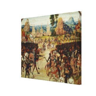 De slag van Poitiers, van Froissart stelt te boek Canvas Print
