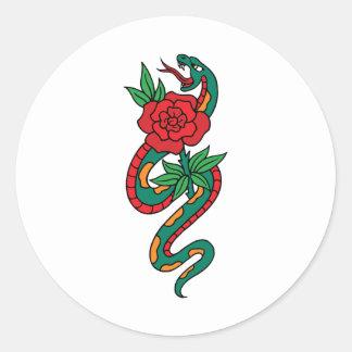 De Slang van Clipart van de cartoon rond een Rood Ronde Sticker