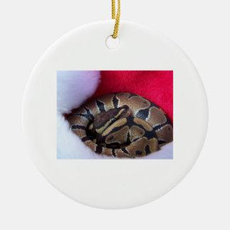 De Slang van de Python van de bal in het Rond Keramisch Ornament