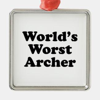 De Slechtste Schutter van de wereld Zilverkleurig Vierkant Ornament