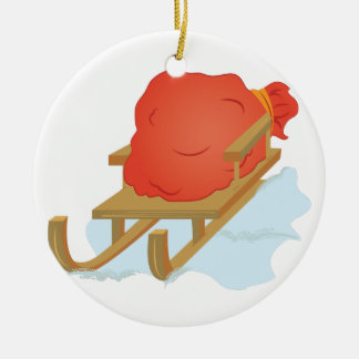 De Slee van de kerstman Rond Keramisch Ornament