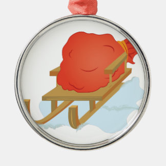 De Slee van de kerstman Zilverkleurig Rond Ornament